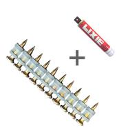 Усиленные дюбель-гвозди LIXIE с насечками WSD 3.0-2.6х17K + баллон